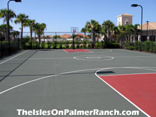 Shoot some hoops on the basketball court by the clubhouse.